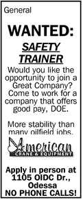 Wanted: Safety Trainer