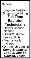 Full-Time Radiator Technicians