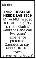 Rurl Hospital Needs Lab Tech