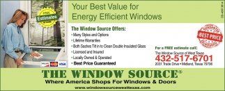 Your Best Value For Energy Efficient Windows The Window Source Midland Tx