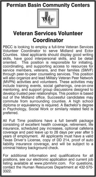 Veteran Services Volunteer Coordinator, Permian Basin