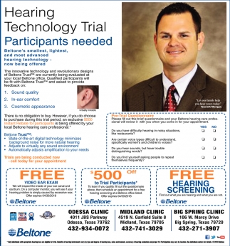 Hearing Technology Trial Participants Needed, Beltone , Odessa, TX
