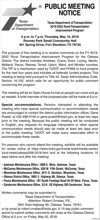 Public Meeting Notice Texas Department Of Transportation