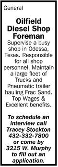 Oilfeld Diesel Shop Foreman