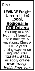 Local, Regional And OTR Drivers