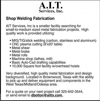 Shop Welding Fabrication