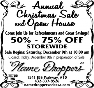 Annual Christmas Sale And Open House