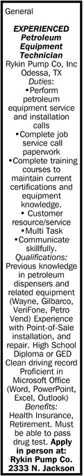 Experienced Petroleum Equipment Technician