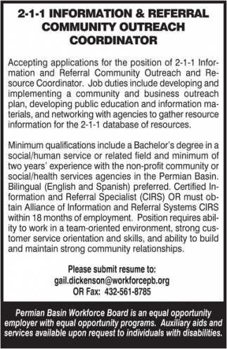 2-1-1 Information And Referral Community Outreach Coordinator