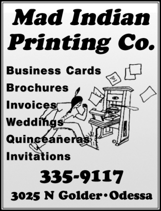 Business Cards, Mad Indian Printing Co, Odessa, TX