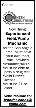 Experienced Field/Pump Mechanic