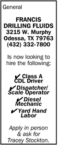 Class A Cdl Driver Francis Drilling Fluids Odessa Tx