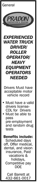 Experienced Water Truck Driver