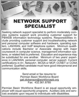 Network Support Specialist, Permian Basin Workforce Board