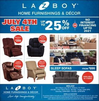 July 4th sale lazboy furniture galleries midland tx