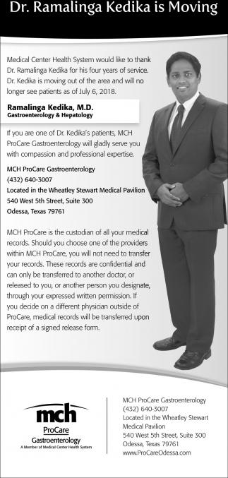 Dr Ramalinga Kedika Is Moving Mch Procare Odessa Tx