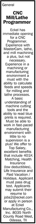 CNC Mill/Lathe Programer