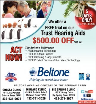 We Offer A Free Trial On Our Hearing Aid $500.00 Off