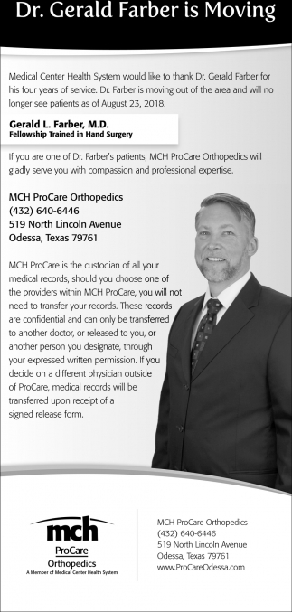 Dr Gerald Farber Is Moving Mch Procare Odessa Tx