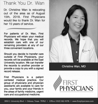Thank You Dr. Wan