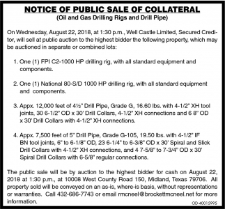Notice Of Piblic Sale Of Collateral
