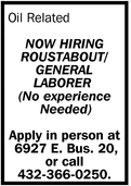 Now Hiring Roustabout/General Laborer, Job Oportunities