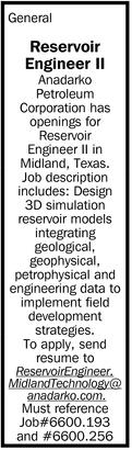 Reservoir Engineer II, Anadarko Petroleum Corporation, Midland, TX