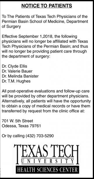 Notice To Patients
