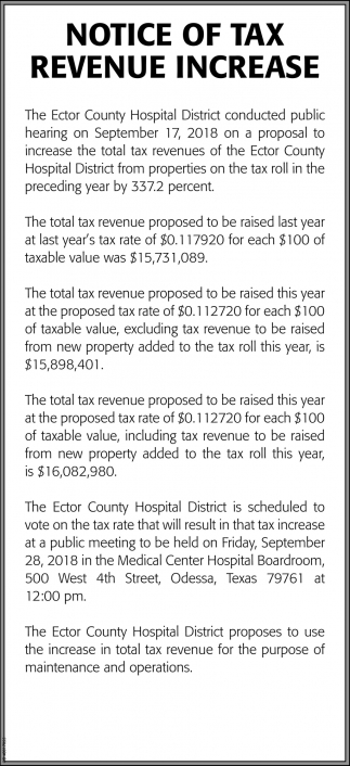 Notice Of Tax Revenue Increase
