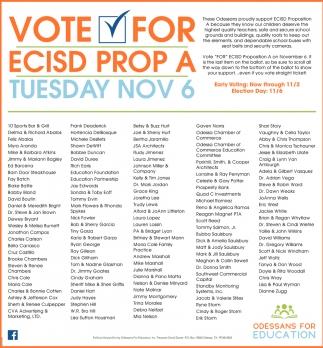 Vote For ECISD Prop A Tuesday Nov 6