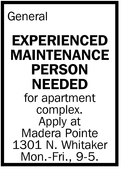 Experienced Maintenance Person Needed