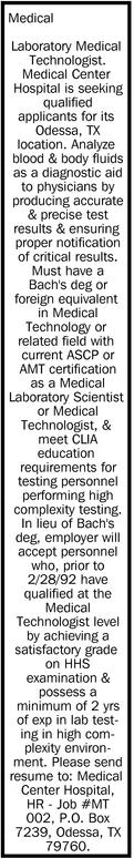 Laboratory Medical Technologist