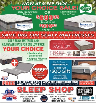 Now At Sleep Shop... Your Choice Sale!