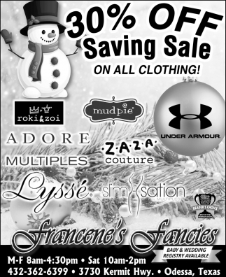 30% Off Saving Sale On All Clothing!