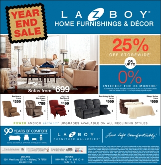 Year End Sale Lazboy Home Furnishings Decor Midland Tx