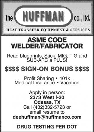 Asme Code Welder/Fabricator