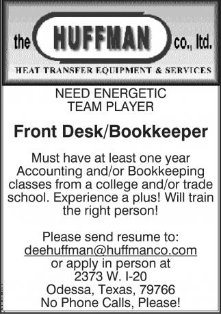 Front Desk/Bookkeeper