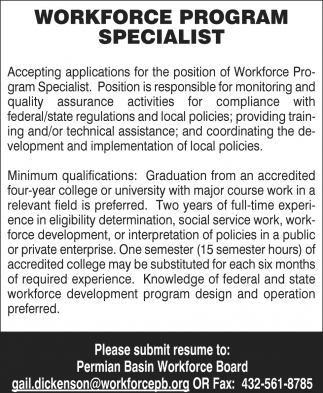 Workforce Program Specialist
