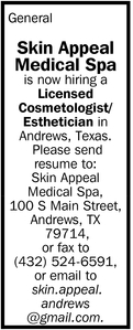 Licensed Cosmetologist/Esthetician, Skin Appeal Medical Spa