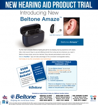 New Hearing Aid Product Trial, Beltone , Odessa, TX