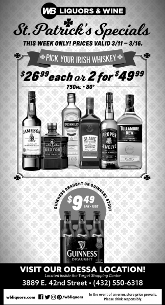 St. Patrick's Specials