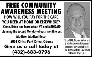 Free Community Awareness Meeting
