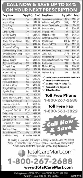 Call Now And Save Up To 84% On Your Next Prescription