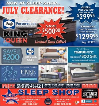 Now At Sleep Shop... July Clearance!