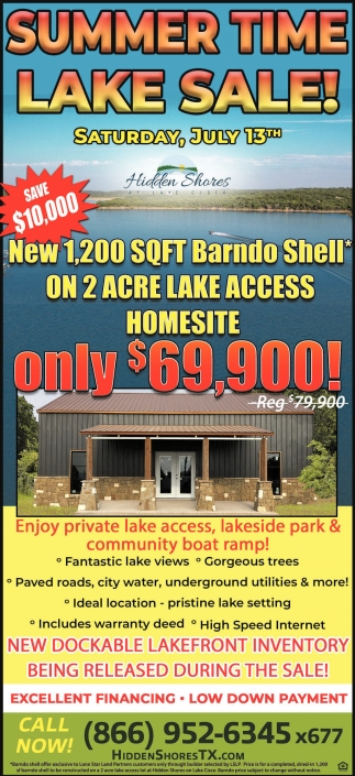 Summer Time Lake Sale!