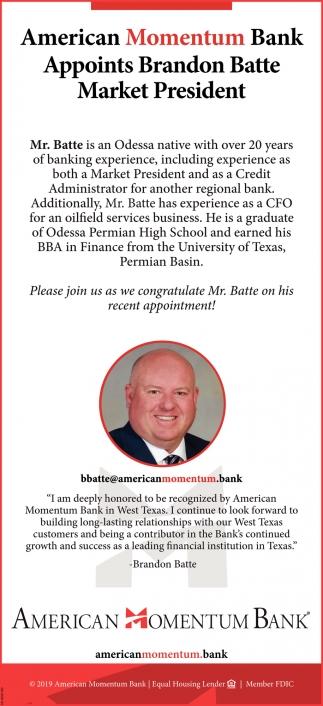 Appoints Brandon Batte Market President