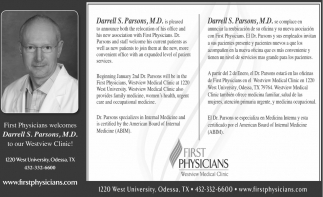 Welcomes Darrell S. Parsons, M.D. Tou Our Westview Clinic