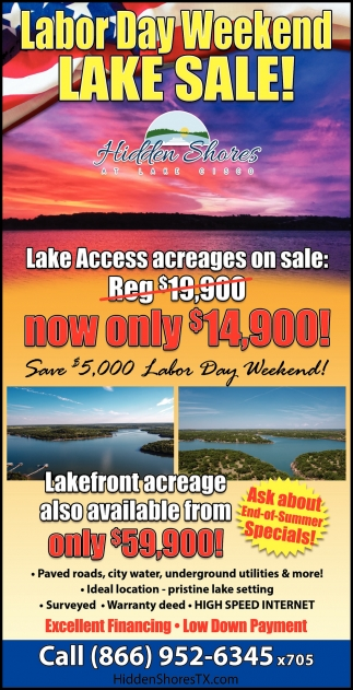 Labor Day Weekend Lake Sale!