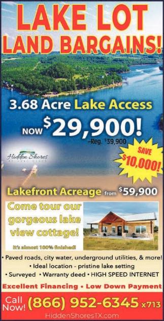 Lake Lot Land Bargains!