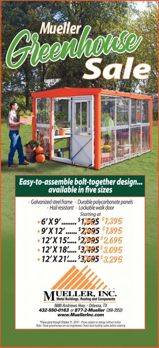 Mueller Greenhouse Sale